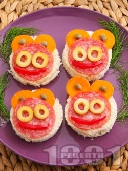 Детски сандвичи с колбас и зеленчуци - снимка на рецептата